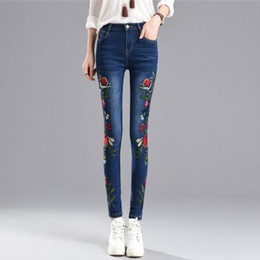 Wholesale Flower Skinny Jeans - Hot sale Stretch Embroidered Jeans For Women Elastic Flower Jeans Female Pencil Denim Pants Rose Pattern Pantalon Femme
