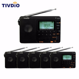 Wholesale Automatic Packing - 6PCS TIVDIO V-115 FM AM SW Radio World Band Receiver MP3 Player REC Recorder With Sleep Timer Automatic Search Store FM Radio