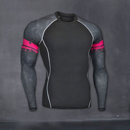Wholesale Yellow Thermal Shirt - Mens Fitness Long Sleeves Rashguard T Shirt Men Bodybuilding Skin Tight Thermal Compression Shirts MMA Crossfit Workout Top Gear
