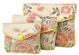 Маленький китайский шелковый монетный кошелек онлайн-Бежевый цветочный молния портмоне сумка небольшой подарок сумки для ювелирных изделий Шелковый мешок мешок китайский кредитной карты держатель