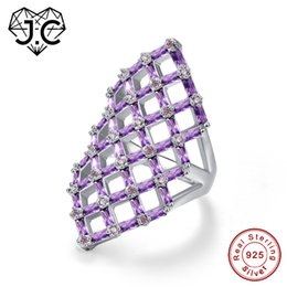 Canada J.C Creux Carré Conception Emeraude Taille Améthyste Rose Blanc Topaze Ruby Spinel 925 Bague En Argent Sterling Taille 6 7 8 9 Fine Jewelry Y18102510 cheap amethyst emerald ring Offre