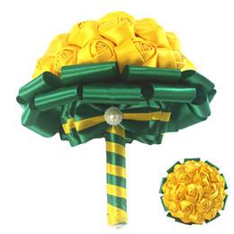 18 см свадебный букет шелковая роза свадебный букет имитация розы лента невеста с цветами в руках искусственный свадебный букет невесты от