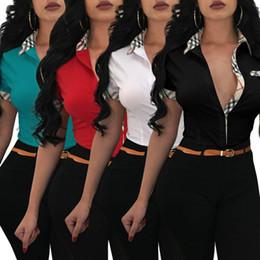 2019 blusa de impressão de flores amarelas 2018 Mulheres Camisa de Impressão Xadrez Bolso Botão de Manga Curta Blusa Único Peito Lapela Pescoço OL Estilo Escritório Camisa Branco Preto Vermelho Verde