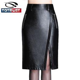 4ea1cad2737 TOTRUST Lady Black PU Faux Leather Skirt Women 2018 High Waist Skirt Plus  Size Midi Pencil Side Slit Faldas Saia Femininas
