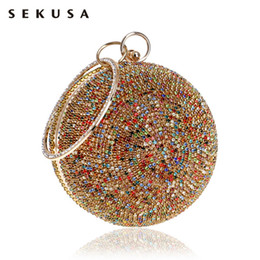 diamond clutch bag colorful Coupons - SEKUSA New Arrival Women Evening Clutch Purse Diamonds Colorful Lady Round Shaped Chain Shoulder Wedding Handbags Crystal Purse