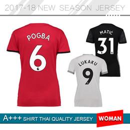 Wholesale White Shirts For Ladies - POGBA women Man U soccer jersey IBRAHIMOVIC LUKAKU RASHFORD MARTIAL 17-18 Customized Thai Quality lady football shirt for girl