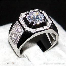 Canada Hommes de luxe 10KT BLANC Or FILLED Anneaux bijoux de doigt Éternel 6 * 6mm 1.2ct Diamant Zircon Cocktail Anneau Pour Hommes Garçons Sz 7-13 Offre