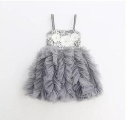 Wholesale Babies Singlets - Summer Baby Girl Clothes Girl Flower Party Dresses Kids Girls Lace tutu Dress Babies Princess Singlet Dress 2018 Baby Clothes kids clothing