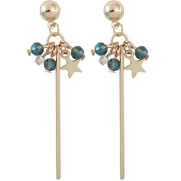 2019 палка серьги женщины European Fashion Long Stick Blue Crystal  Gold-color Star Dangle Earrings Glass Balls Drop Earrings for Women дешево палка серьги женщины