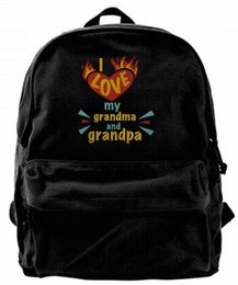 gifts for teens girls Promo Codes - I Love My Grandma And Grandpa Gifts For Grandparents Fashion Canvas Best Backpack For Men & Women Teens College Travel Daypack Black