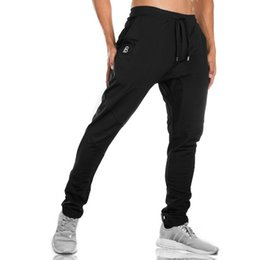 Wholesale Denim Sweat - 2018 New High Quality Jogger Pants Men Fitness Bodybuilding Gyms Pants For Runners Brand Clothing Autumn Sweat Trousers Britches
