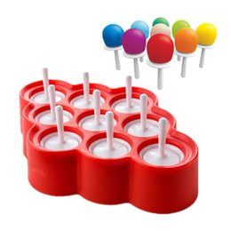 Wholesale Icing Molds - New Silicone Mini Ice Pops Mold Ice Cream Ball Lolly Maker Popsicle Molds With 9 Stickers Ice Cream Makers For Summer