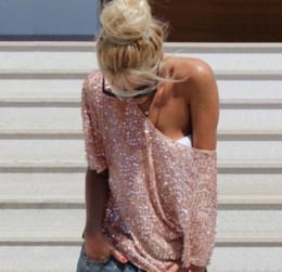 Fuori dalla camicetta di spalla online-2018 nuove donne sexy calde moda allentata spalla paillettes glitter camicette estate casual camicie vintage streetwear partito top