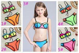 Wholesale Children S Sexy - New Baby Girls Two-piece Bikini Swimwear Sexy Children Fashion Swimming Suit Multi Color Bra Trunks Super Nylon Breathable Soft 5 Colors