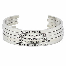 Wholesale Quotes Hot - Hot Sale Stainless Steel Engraved Positive Inspirational Quote Hand Stamped BAR Cuff Bracelet Mantra Bangle for women