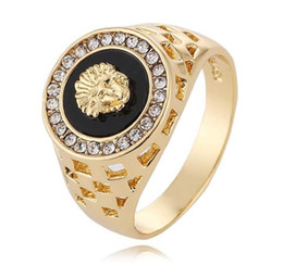 Wholesale Gold Rings Design For Men - Brand Design full Diamond Medusa rings for men top quality gold plated hip hop jewelry wholesale free shipping