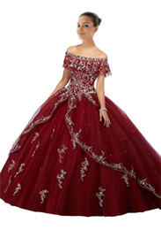 petite prom gowns Coupons - Burgundy Quinceanera Dresses 2018 Long Cheap Ball Gown Prom Dress Sweet 16 Girls Off shoulder Sliver Embroidery Vestidos 15 anos