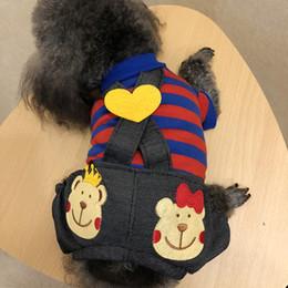 Hund sommer overalls online-Hundebekleidung Spring Summer Pudel Kleine Hunde Katzen Striped Black Pant Jumpsuit Haustier Kleidung Großhandel 16jq gg