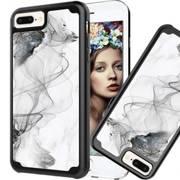 Wholesale rugged protection - Marble Hybrid Dual Layer Clear Armor Phone Case 2 In 1 PC TPU Full Protection Rugged Shockproof Cover For iphone X 8 7 6s 6 plus OPP Aicoo