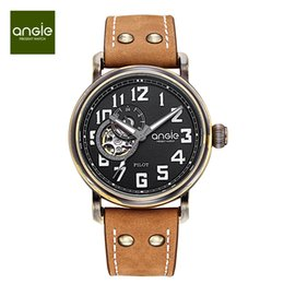 Wholesale Antique Brown - Angie Women's Men Unisex waterproof pilot automatic mechanical watch imported hollow movement waterproof watch