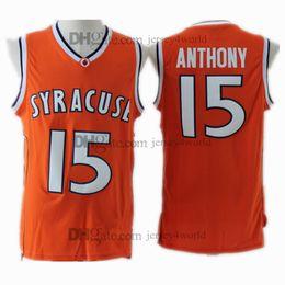 Venta al por mayor online-NCAA Syracuse College # 15 Carmelo Anthony Jersey Orange 100% bordado de los hombres de baloncesto cosido jerseys baratos al por mayor