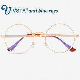 ff30022738c IVSTA Anti Blue Rays Gaming Glasses Men Round Optical Frame Prescription Eyewear  Myopia Reading UV400 for Computer Metal Yellow