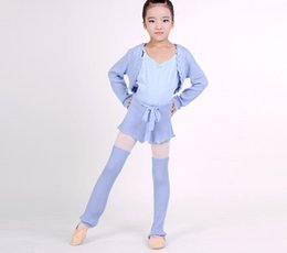 2019 tutu de ballet adulto por atacado Meninas Outono / Inverno Ballet Dance Knit Shorts Ballet Quente de Manga Comprida Tops De Malha Leggings 3 PCS Terno de Aquecimento Roupas de Dança