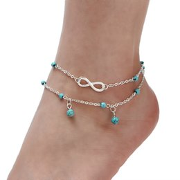 Wholesale Bohemian Anklets For Women - Turquoise Beads Infinite Anklets For Women Summer Beach Multi Layer Anklet Leg Bracelet Handmade Bohemian Jewelry Sandals Gift