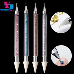 stud manicure Promo Codes - High Quality 1 Dual-ended Nail Dotting Pen Diamond Painting Pen Crystal Beads Handle Rhinestone Studs Picker Wax Pencil Manicure