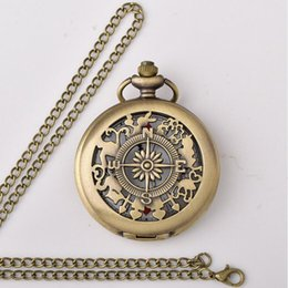 Wholesale Watch Stainless Steel Compass - 100pcs lot Vintage Bronze Hollowed Compass Pockt Watch Brown Dial Pocket Watches Sweater Chain Gift Watches