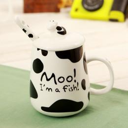 Wholesale office spot lights - Spot Milk Cow Creative Ceramic Coffee Mugs Cartoon Moo Home Office Breakfast Mug Gift