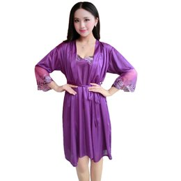 d392938104e5 purple sleeping lace gowns Coupons - Lace Flower Sleep Set Rayon Sleepwear  Sexy Rayon Nightgown Women