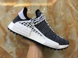 Wholesale hard sun - Wholesale Human Race Pharrell Williams Hu trail NERD Men Womens Running Shoes Sun Glow Core Black Breath Walk Sport Shoes Trainer Sneakers