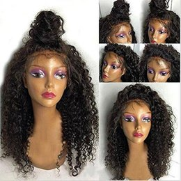 Wholesale Long Hair Wigs Cheap - Charming Cheap Natural Wigs Black Afro Kinky Curly Long Wigs for Black Women Heat Resistant Synthetic Lace Front Wigs with Baby Hair