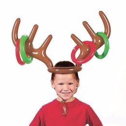 Надувные ПВХ Оленьей Рога Шляпы Кольцо Бросок Игра Рождество Праздничная Вечеринка Игрушки Лось Рождественский Костюм Милые Веселые Игры Сувениры Косплей от Поставщики рождественские шляпы