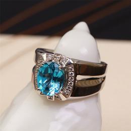 2019 anelli in argento sterling in pietra blu fabbrica all'ingrosso SGARIT marca naturale svizzero blu topazio pietra gemma Anelli in argento sterling s925 generoso gioielleria per gli uomini sconti anelli in argento sterling in pietra blu