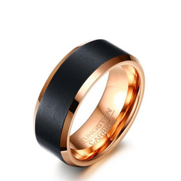 Wholesale Tungsten Carbide Men - Fashion Classic 8mm Black & Rose Gold Color Tungsten Carbide Wedding Band for Boy and Girl Friendship Ring Men Simple Jewelry
