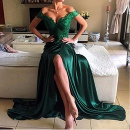 Wholesale Emerald Green Sexy Prom Dresses - 2017 Emerald Green Sexy Prom Dress A Line Off Shoulder Lace Elastic Satin High Side Split Lace Elegant Long Evening Dress Formal Dress