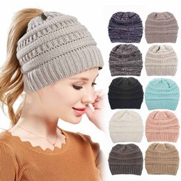 street wear beanies wholesaler Promo Codes - Ins Hot Sale Ladies Hats Colorful Solid Wool Knit Hats Multi Function Ponytail Wearing Casual Hats