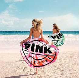 Wholesale microfiber blanket soft - Pink Microfiber Round Beach Towel 160cm Soft Quick Drying Swimming Bath Sports Towels Picnic Blanket OOA5225