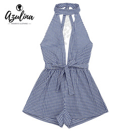 d74c32db370f AZULINA Elegant Black and White Plaid Romper Jumpsuit Women Sexy Backless Cut  Out Tassels Checked Rompers Playsuit 2017 Overalls