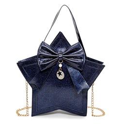 Wholesale Harajuku Bags Shoulder - Womens Star PU Leather Shoulder Bags Girls Lolita Handbag Harajuku Bow Chain Shiny Ladies Evening Bags Messenger Cross Body Bag