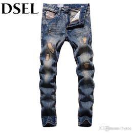 Ropa de calle americana online-Wholesale- Retro Designer Men Jeans European American Street Man Clothing Stripe Jeans Mens Pants DSEL Brand Destroyed Ripped Jeans Men