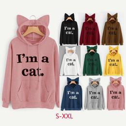 Wholesale Cute Hoodie Ears - Cute Cat Ear Hoody Sweatshirts Kawaii Hoodie Women Letter Printed Long Sleeve Tracksuits Pullover 8 Colors OOA3933