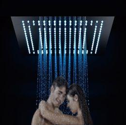 Canada Puissance de salle de bains encastrée au plafond douche électronique 40x40cm 304 sus LED pommeau de douche coloré pluie deux fonctions pluie, rideau supplier shower curtain lights Offre