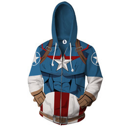 superman prints Coupons - 2018 Foreign Trade Captain America Superman 3D Digital Print Hooded Cardigan Couple Sweater Men's Jacket Top