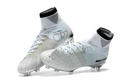 Золотые футбольные бутсы онлайн-2019 новые люди Cristiano Ronaldo Mercurial Superfly Iv FG CR7 501 ботинок белые золотые футбольные бутсы, дешевые глава 5 мужские тренировочные кроссовки бутсы