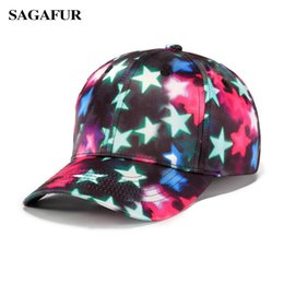 f208e2eb881 SAGAFUR Stylish Hats Men Women s Cap Quality 3-D Printing Gradient Colorful  Stars Causul Snapback Summer Cap For Boy Outdoor