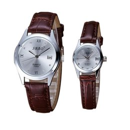 Женские кожаные наручные часы онлайн-2pcs  Couple's Date Watch Stainless Steel Genuine Leather Analog Quartz Men Watches Ladies Casual  Clock