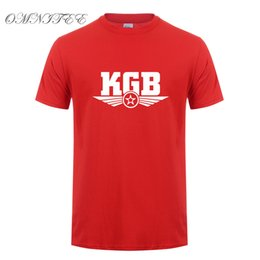 Camicia kgb online-Commercio all'ingrosso New Fashion Russia KGB T-Shirt da Uomo Estate Stile Manica Corta in Cotone O-Collo Moda Hip Hop T-Shirt Top OT-495